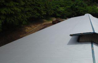 牛舎屋根 重ね葺き 完了